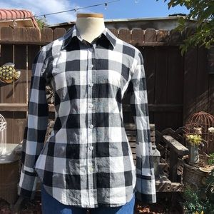 Norma Kamali Checked Black/White Button Up M